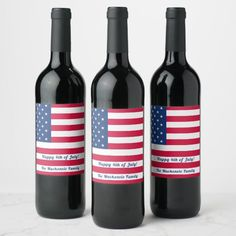 Happy 4th of July | Personalized American Flag Wine Label Fourth Of July Food, 4th Of July Party, July 4th, Picnic Themed Parties, Outdoor Party Games, Wine Bottle Labels, Beer Labels, Patriotic Decorations, Memorial Day Decorations