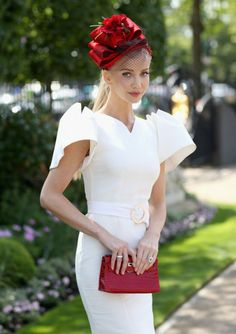 Model and designer Tatiana Korsakova enjoying the day at Royal Ascot. Elegant outfit for the races