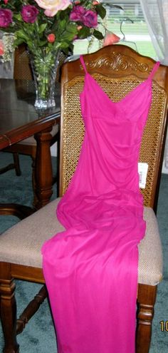 Jodi Kristopher Formal Gown Fuchsia Spaghetti Straps Sequined Bust Junior Small #JodiKristopher #BallGown #Formal