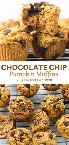 These Chocolate Chip Vegan Pumpkin Muffins are light, moist, and packed with plant-based protein! Plus they are gluten-free! They make for a great post-workout snack, breakfast, or healthy dessert!