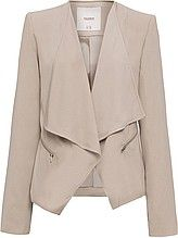 женский пиджак, с длинными рукавами, с запахом, большой отложной воротник, прорезные карманы на молнии, бежевый