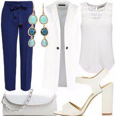 Pantaloni Dorothy Perkins- navy blue, in viscosa e poliestere, leggeri e freschi, abbinati ad un top bianco con piccoli ricami superiori (da indossare dentro i pantaloni) e smanicato bianco lungo. Ho scelto una pochette e dei sandali bianchi alti. Per finire, come accessori, degli splendidi orecchini con tre pietre di colore azzurro diverse ed incastonatura dorata.