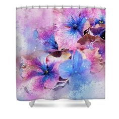 Flowers Shower Curtain featuring the photograph Blue And Purple Flowers by Judi Saunders. To learn more, click through.