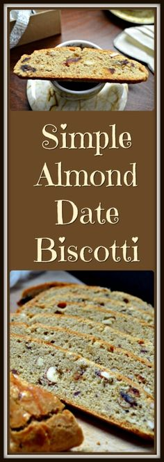 A Simple Almond Date Biscotti recipe which does not require a second baking. Soft, with the occasional crunch from the almonds. Perfect with an espresso!
