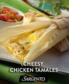 Chicken Tamales Thats. Learn how to make this fiesta dinner in just 45 minutes! Learn how to make this fiesta dinner in just 45 minutes! Mexican Dishes, Mexican Food Recipes, Ethnic Recipes, Mexican Desserts, Mexican Cheese, I Love Food, Good Food, Yummy Food, Great Recipes