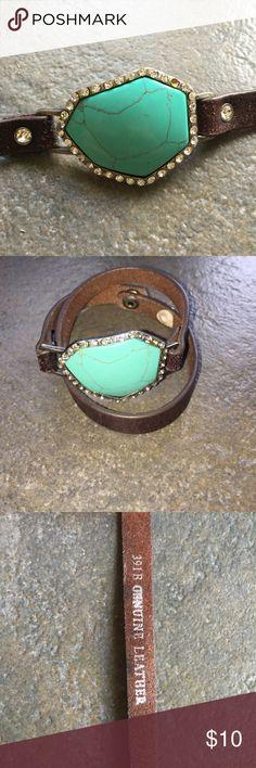 Turquoise leather wrap bracelet Genuine leather wrap turquoise bracelet with snap closure. Jewelry Bracelets