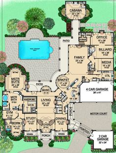 House Plan – European Plan: Square Feet, 7 Bedrooms, 9 Bathrooms beautiful mansion with everything you could possibly need, minus a beautiful library or music room House Plans Mansion, Sims House Plans, House Layout Plans, New House Plans, Dream House Plans, House Layouts, House Floor Plans, Dream Houses, 6 Bedroom House Plans