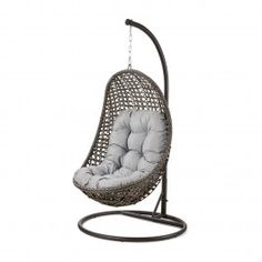 Make your garden centre stage with the Maze Rattan Garden Malibu Grey Outdoor Hanging Chair. Also available in Brown and Natural! Hanging Swing Chair, Hammock Swing Chair, Swinging Chair, Grey Rattan Garden Furniture, Pod Chair, Debenhams, Bbq, Eames Chairs, Barbecue