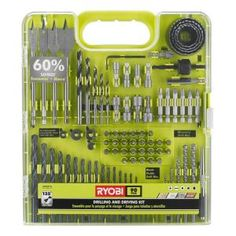 RYOBI introduces the Drill and Drive Kit. The assortment of drilling bits included allow for drilling in wood, metal, plastic, and even brick. This durable, versatile set is a must-have for DIYer. Ryobi Tools, Wii, Outdoor Curtains For Patio, Cordless Drill Reviews, Cordless Power Tools, Drill Set, Drop Cloth Curtains, Roller Shades, Garage Organization