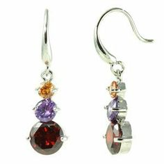 Classic Round Multicolored CZ with French Hook Dangle Earrings le Jane. $19.00