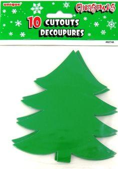 Christmas Tree Green Xmas Party Cutouts - 10 Pack