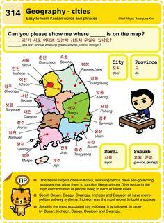 Korean Hangul Geography- cities