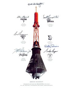 Insignias from each of six manned Mercury 7 missions and autographs of the original seven NASA astronauts encircle the Mercury spacecraft. Nasa Photos, Nasa Images, Cosmos, Project Mercury, Nasa Space Program, Nasa Astronauts, Space Astronauts, Nasa History, Air And Space Museum