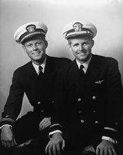 PP83 Lt.(jg) John F. Kennedy and Ensign Joseph P. Kennedy Jr., circa May, 1942.