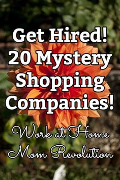 THIS IS ACTULLY GREAT FUN!   I REALLY ENJOYED IT!   Get Hired! 20 Mystery Shopping Companies! / Work at Home Mom Revolution