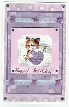cross stitched birthday card