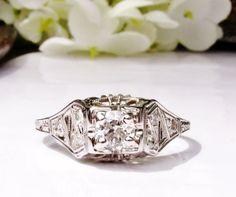 Antique Art Deco Engagement Ring Old Cut Diamond Vintage 14K White Gold Filigree Wedding Ring Beautiful Antique Bridal Jewelry! on Etsy, $1,429.50