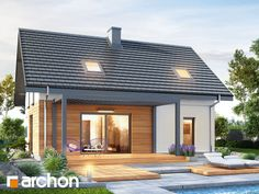 Dom w borówkach (GN) Small Cottage Homes, Modern Prefab Homes, Bungalow House Design, Cottage Exterior, Dream House Plans, Home Fashion, Modern Bedroom, Mansions, House Styles