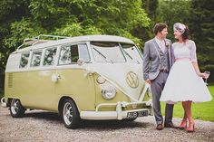 Candy Anthony 1950s style wedding dress with sleeves, VW camper van wedding