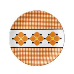 Gingham and Flowers Porcelain Plate in Orange