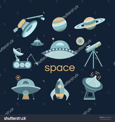 Space icon set. Collection of vector space objects: planets, ufo, rocket, spaceship, satellite, telescope. Icons flat style. Symbols of universe and cosmos. Illustration in vintage style.