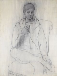 Pablo Picasso, Man with Pipe (L'homme à la pipe),Paris, May 1923,Oil, pencil, and india ink on canvas, 130 x 97cm,Private collection, Courtesy Fundación Almine y Bernard Ruiz-Picasso para el Arte,© 2012 Estate of Pablo Picasso/Artists Rights Society (ARS), New York,Photo: Eric Baudouin