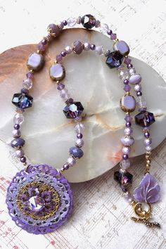 "Shades of Purple Vintage Inspired 24"" Necklace with Free Matching Earrings by SusanLaCroixJewelry $40 + Free USA Shipping"