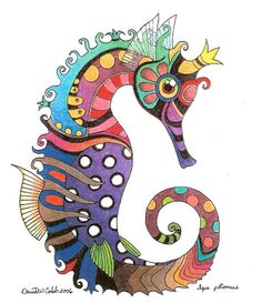 Zentangle & Doodling / Зентангл и Дудлингcolorful seahorse by David Cobb Seahorse Drawing, Seahorse Art, Seahorses, Colorful Seahorse, Seahorse Painting, Doodle Art, Arte Pop, Fish Art, Art Projects