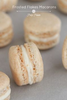 Frosted Flakes Macarons by Picky Palate #cookies #macarons #frostedflakes Brownie Cookies, Cake Cookies, Macaron Cookies, Yummy Cookies, French Macaroons, Italian Macarons, Macaroon Recipes, Frosted Flakes, Baking Recipes