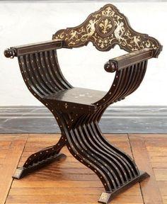 marqueterie renaissance italienne | ... CURULE en bois teinté noir incrusté de marqueterie d'ivoire