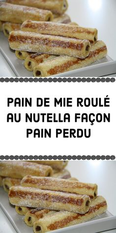 Pain de mie roulé au Nutella façon pain perdu I had eggs and sliced bread that were going to be Desserts With Biscuits, Köstliche Desserts, Dessert Recipes, Turtle Cheesecake Recipes, Rolled Sandwiches, Kreative Desserts, Lemon And Coconut Cake, Mini Foods, Beignets