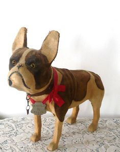 "12"" Cloth Covered, Brindle & Cream, French Bull Dog, Glass Eyes. Late 1800s, with Wrinkles, Cloth Covering on Wood Frame...Childs Toy from France or Germany."