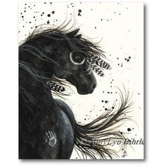 Majestic Horses Black Friesian War Paint Native Feathers ArT Prints by... (25 CAD) ❤ liked on Polyvore featuring home, home decor, wall art, feather wall art, black wall art, black home decor, horse home decor and horse wall art