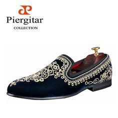 New Arrival Embroidered Men Velvet Loafers Slippers Size 6-13 Free Shipping