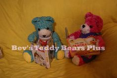 Jason and Emily - 2 Crocheted Teddy Bears who love reading!  They have moveable arms, legs and heads.