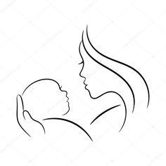 Baixar - Ilustração de contorno mãe e do bebê — Ilustração de Stock #124339538
