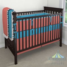 Crib bedding in Solid Turquoise, Solid Coral, Ivory Linen. Created using the Nursery Designer® by Carousel Designs where you mix and match from hundreds of fabrics to create your own unique baby bedding. #carouseldesigns