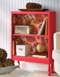 Mod Podge Repurposed Shelf with Mod Podge Furniture formula - click thru to see how to make it!  #plaidcrafts