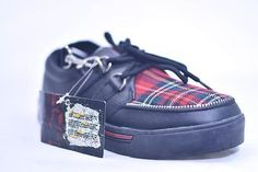 TUK BLACK LEATHER RED TARTAN CREEPER SNEAKERS # A6155 MENS US 11 EU 44  NOS PUNK