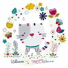 Tarjeta con un gato y un marco floral