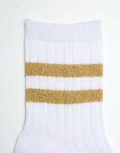 Image 2 ofASOS Glitter 2 Stripe Ankle Socks