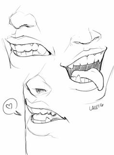 """manga drawing techniques bylacey: """" How about some mouth doodles """" - Pencil Art Drawings, Art Drawings Sketches, Fantasy Drawings, Drawing Techniques, Drawing Tips, Mouth Drawing, Manga Drawing, Poses References, Drawing Expressions"""
