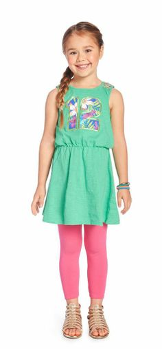 JUNGLE BOOGIE OUTFIT Sleeveless dress with palm print #12 graphic. FabKids legging in hot pink. Perfect to wear under dresses.