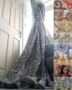 "NEW Quality Damask Lined Curtains Blue Cream Heavy Huge 76"" Width 108"" Long Bay"