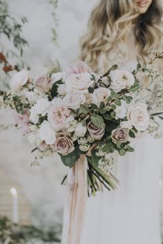 Image 4 - Blushing Bride + a Floral Dream – Romantic Bridal Inspiration in Styled Shoots. #weddingbouquets