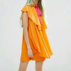 1728c4619616 Asos Orange Frill Dress (Uk10) Chiffon Kjoler