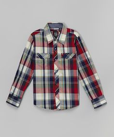 Love this Micros Red Arizona Plaid Button-Up - Toddler & Boys by Micros on #zulily! #zulilyfinds