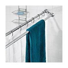 duo shower rod - Awesome use of space in a tiny bathroom! Or any bathroom, towels always seem to end up on the shower curtain rod