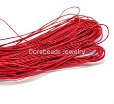 """DoreenBeads 80M(3149-5/8"""") Red Waxed Cotton Cord 1mm for Bracelet/ Necklace (B18503), yiwu"""