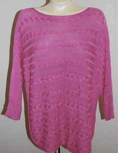 Ralph Lauren LRL Sweater XL NWT Pink $89 Cable Knit 3/4 Sleeves…